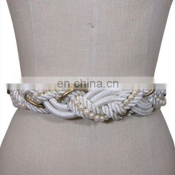 White and Gold with Pearls Braided Rope Belt