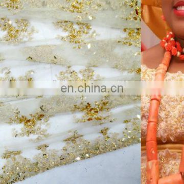 2016 FRENCH LACE WEDDING DRESS FABRIC MESH LACE FABRIC FOR NIGERIA PEOPLE