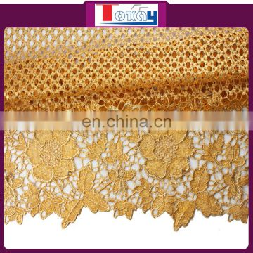 2015 hot cord lace fabric 5 yard in gold color for wedding party