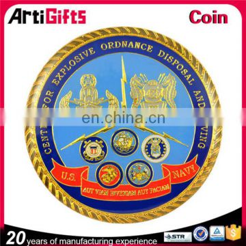 Made in china factory engraved gold coin