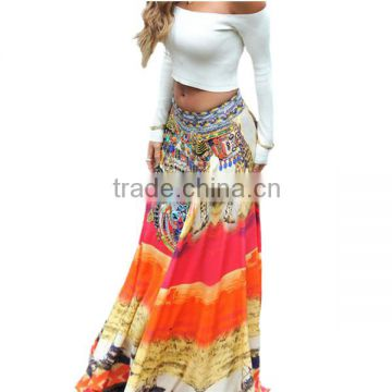 Wholesale Fashion 2015 Fancy Designer Pattern Cheap Women India Beautiful Ladies Skirts Dance Print Maxi Latest Grils Long Skirt