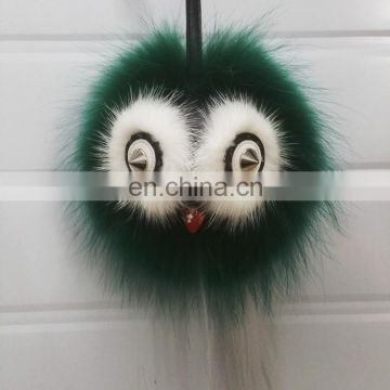 Wholesale Popular Keyring Real Raccoon Fur Owl Ball Bag Keychain