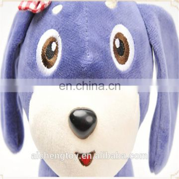 plush animal toy purple cute stuffed dog doll with ringing bell