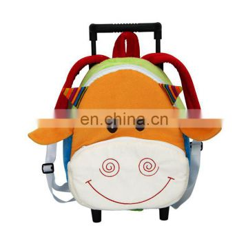 2017 OEM Funny 3D animal Trolley Backpack custom plush cow toy bag for kids B3307