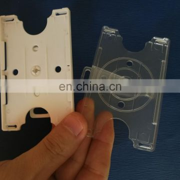 Plastic id card holder with rotating belt