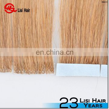 Hand Tied Seamless Skin Weft European Tape Hair skin weft blonde curly tape hair extensions