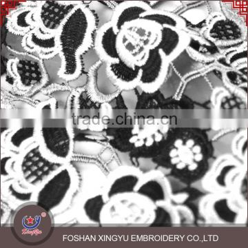 2016 Apparel Garment Accessories black and white Cotton Crochet indian schiffli embroidery Lace Fabric