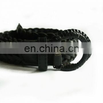 Vintage black leather braided belt