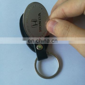 PU leather keychain with Embossed logo for bags and cars
