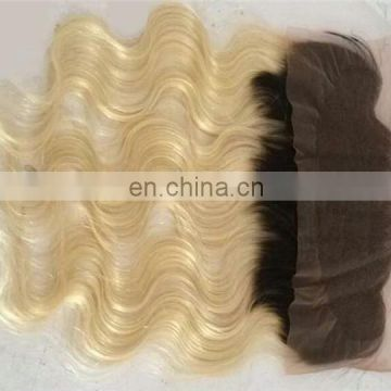 T(#1b/613) ombre color 13x4 size brazilian human hair lace frontal closure