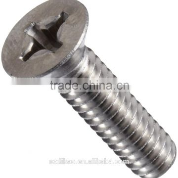 Stainless Steel Machine Screw, Plain Finish, Vented, Flat Head, Phillips Drive, Right Hand Threads, Inch