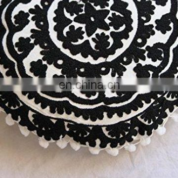 Black & White Handmade Suzani Cushion Cover Indian Cotton Pillow Case Throw Hand Embroidered Sofa Cover 16''