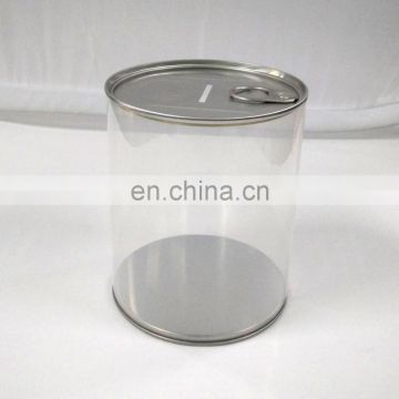 coin bank tin can with plastic body