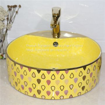Made in china bathroom countertop ceramic round color luxury basin sink for sales