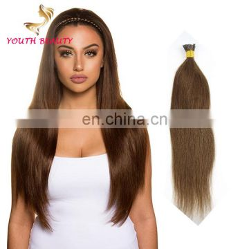2017Best Saling Brazilian Human virgin hair stick I tip hair in silky staright
