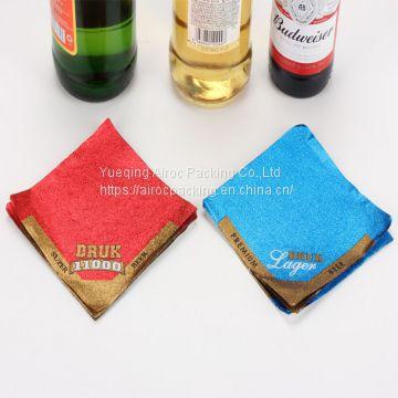 Gold foil embossed beer neck labels metallized paper for beer label