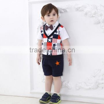 2015 Whosale Summer Children Clothing Sets Newest Boys Pure Cotton British College Style Baby Rompers 3Pcs Outfits