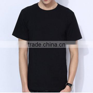 Black cotton man round neck t-shirt