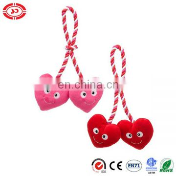 Dog lovely pet toy with rope embroidered face pink and red heart toy