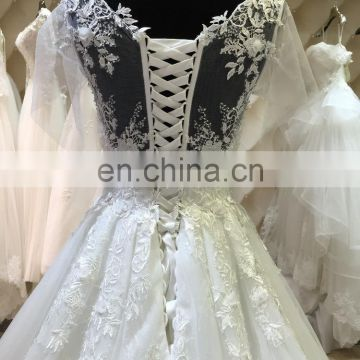 2016 white lace dubai muslim wedding dress chapel train