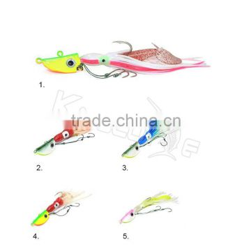 Chentilly CHLP27 factory wholesale lead head jig with plastic skirts and body fishing lure                                                                                                         Supplier's Choice