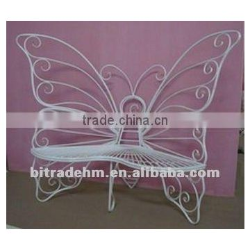 white metal butterfly bench for garden
