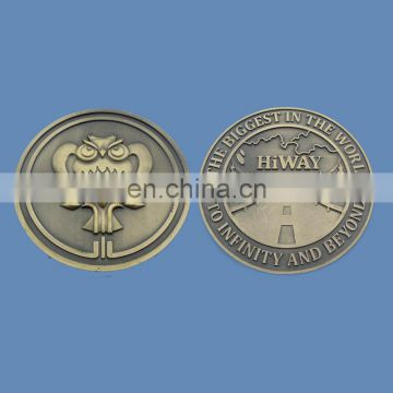 anqtique brass embossed owl hiway souvenir collection coin
