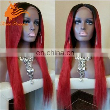 Two Tone Ombre 1B/Red Color Silky Straight Full Lace Wig Brazilian Human Hair Wig Rihanna Virgin Hair Ombre Wig for Black Women