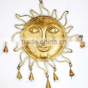 Sun face metal wall hanging, decorative cast iron hanging bells, antique hanging bells, Indian art hanging bells,