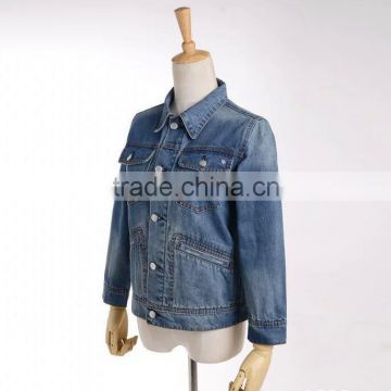 2017 new casual fitted deep blue jeans jacket washed embroidery jacket for girls
