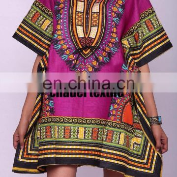 Dashiki African Poncho Tribal Short Shirt Maxi Kaftan 100% Cotton Bright AFRICAN MAXI DRESS CAFTAN VINTAGE PRINT BEACH wears