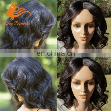 Glueless Full Lace Human Hair Wigs Grade 7A Virgin Peruvian Body Wave Middle Part Wig With Baby Hair