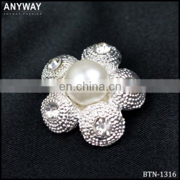6mm flower Pearl Rhinestone Crystal Button Set of 10 Buttons Clear Crystal Small Button Flat Back Metal