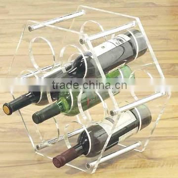 Home Design Clear Acrylic Decoration Waving White/Red Wine Bottle Display Rack Beverage Storage Houseware Acryl Plastic Holder