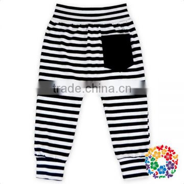 Black/ White Stripe With Pocket Cotton Pants Wholesale Boy & Girl Kids Baby Harem Pants