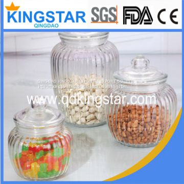 clear glass storage jar