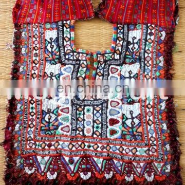 Indian Traditional Banjara Fabric Hand embroidered Mirror patches- Old Fabric Handmade and Vintage Yock Neck