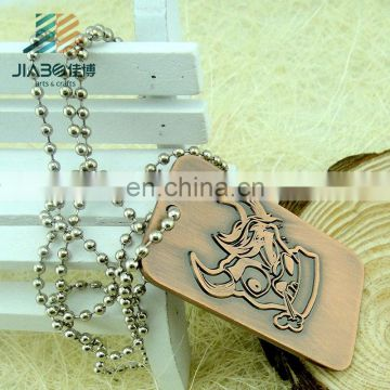 JiaBo custom engraving metal antique dog tag with chain