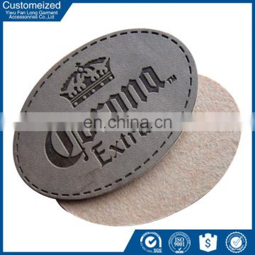 custom jeans metal leather label