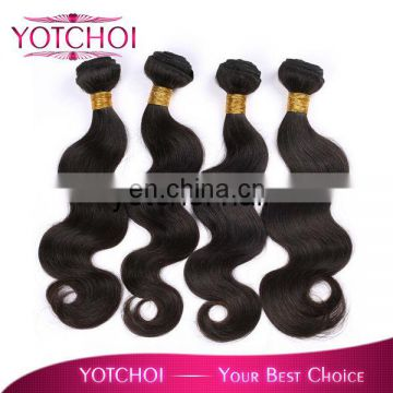 Hot selling double weft natural color body wave brazilian hair