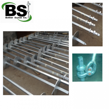 Square bar helical piers with 8'' or 10'' helical plates