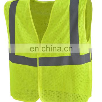 Mesh safety vest with 100%ployester tricot/knitting