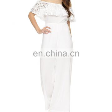 Casual long bardot White jumpsuit for women
