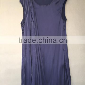 Stone Washed Silk Stretch Satin Front Pleated Confortable Drapery Loose Tunic Shift Dress