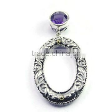 925 sterling silver amethyst gemstone slide pendant with 18k gold accents