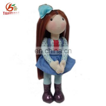 Wholesale Custom Soft Realistic Hair Rag Dolls With Cloth Stuffed Plush Human Doll Toys