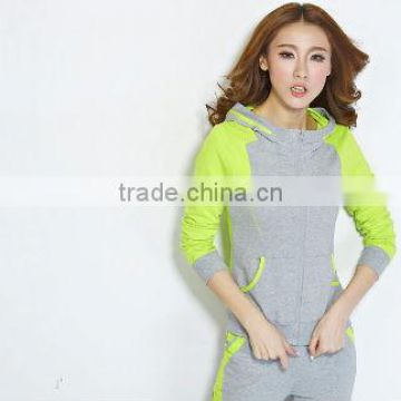 wholesale green sweat suits women tracksuit ladies sports wear long grey pant woman hoodie suit