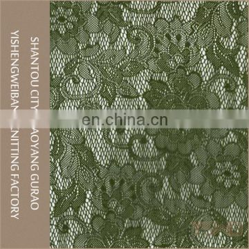 Exotic green flower lace fabric china manufacturer bulk lace fabric