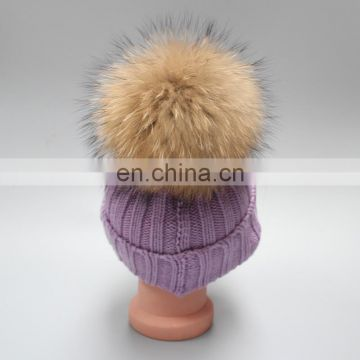 Natural Fur Pompom Hat For Man And Women And Children With Raccoon Ball