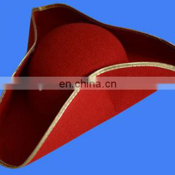 Red Novelties Deluxe tricorn Pirate Hat Adult with gold brim